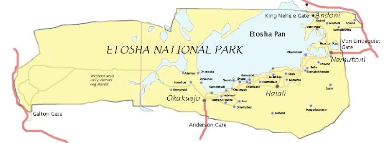 Etosha national park Namibia map